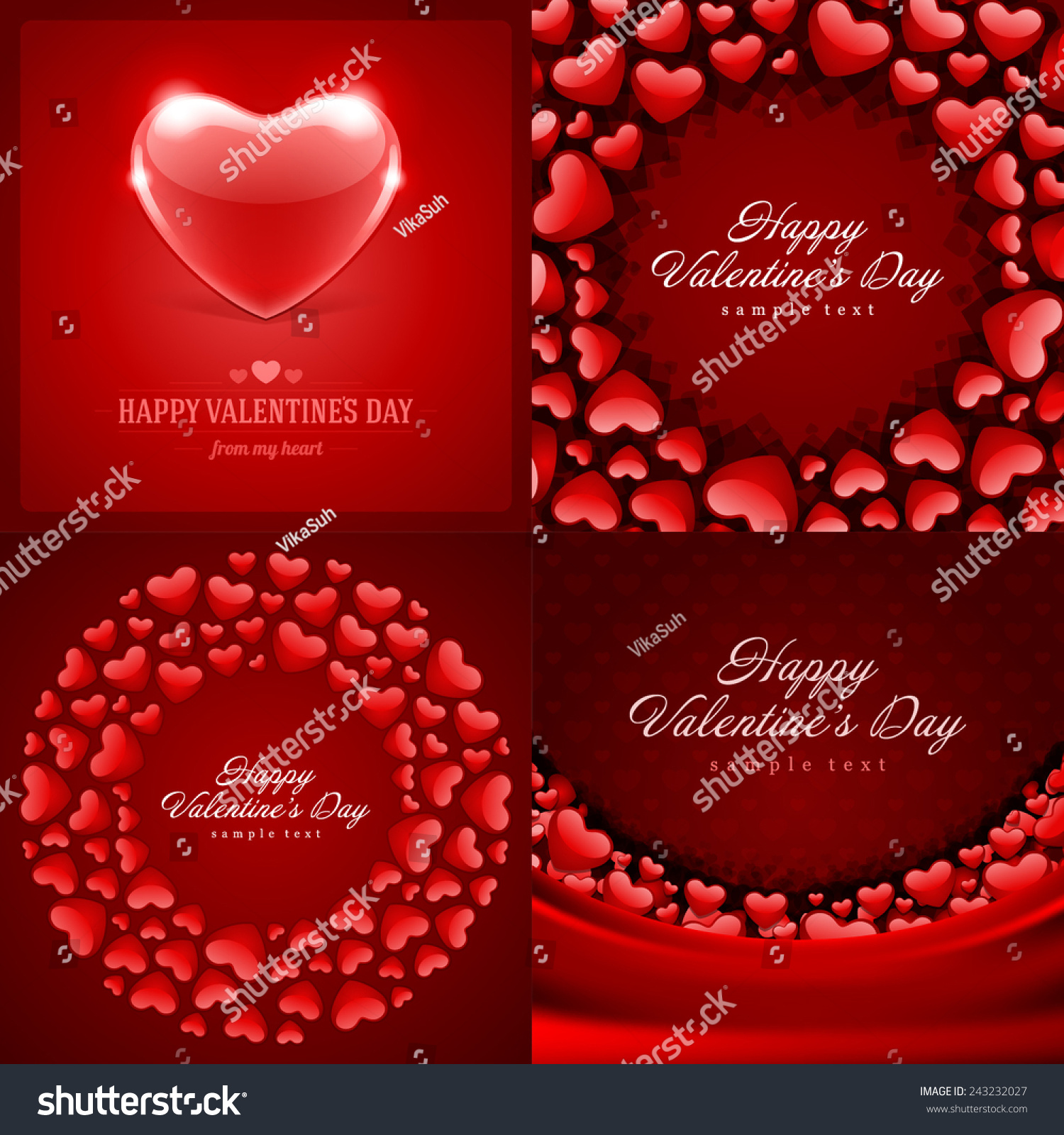 Set Happy Valentines Day Backgrounds Hearts Stock Vector Royalty 1500x1600