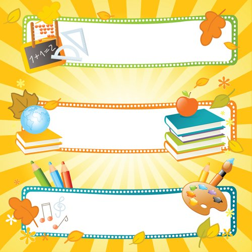 School style vector backgrounds set 01   Vector Background 500x500