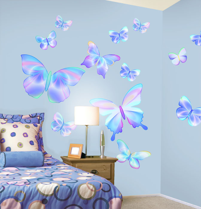 Fluttering Butterfly Peel and Stick Wall Mural in Summertime Blue 672x700