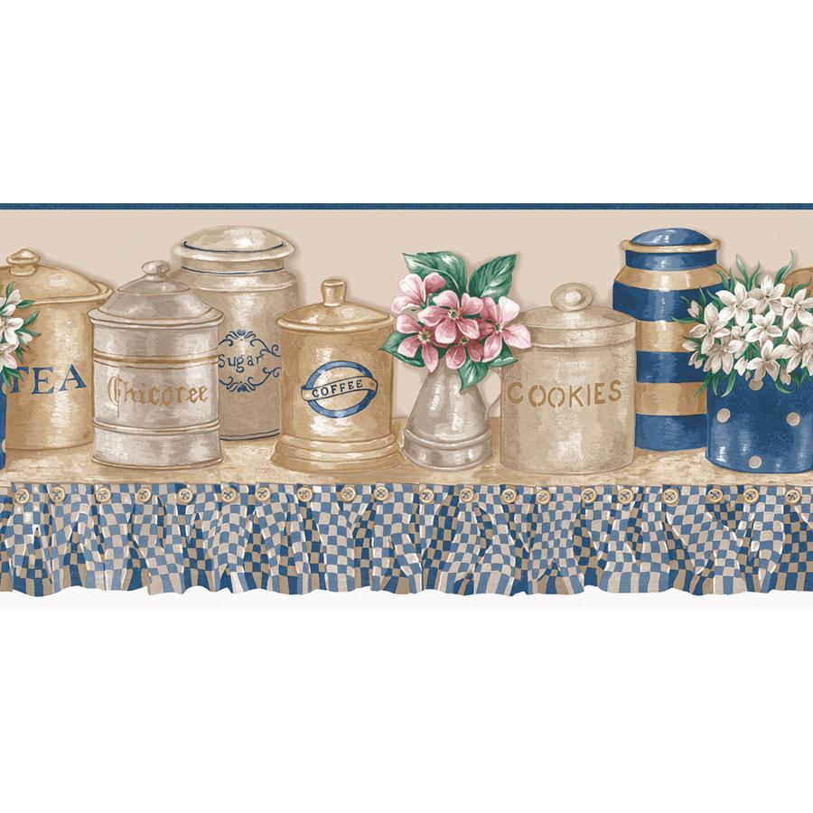 Blue And Beige Kitchen Jars Prepasted Wallpaper Border at Lowes com 900x900