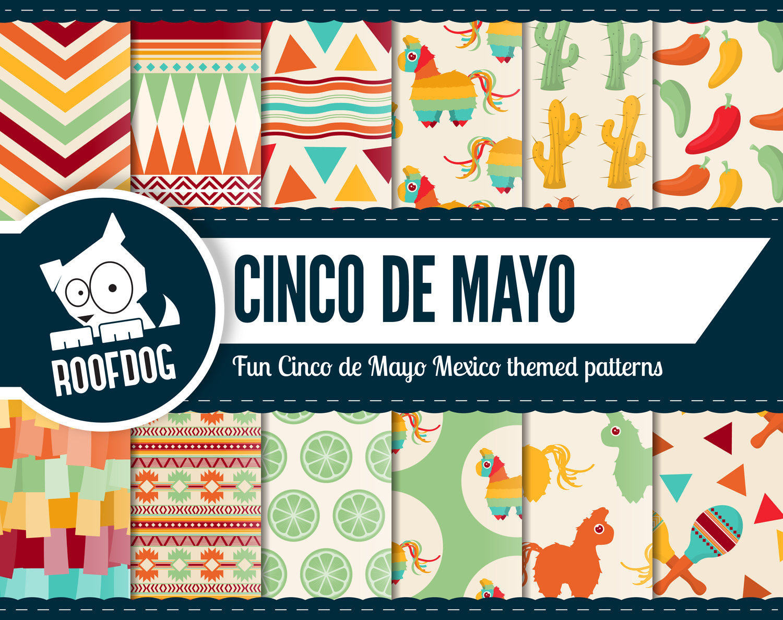 Cinco de mayo digital paper Mexican fiesta patterns Piata 1500x1188
