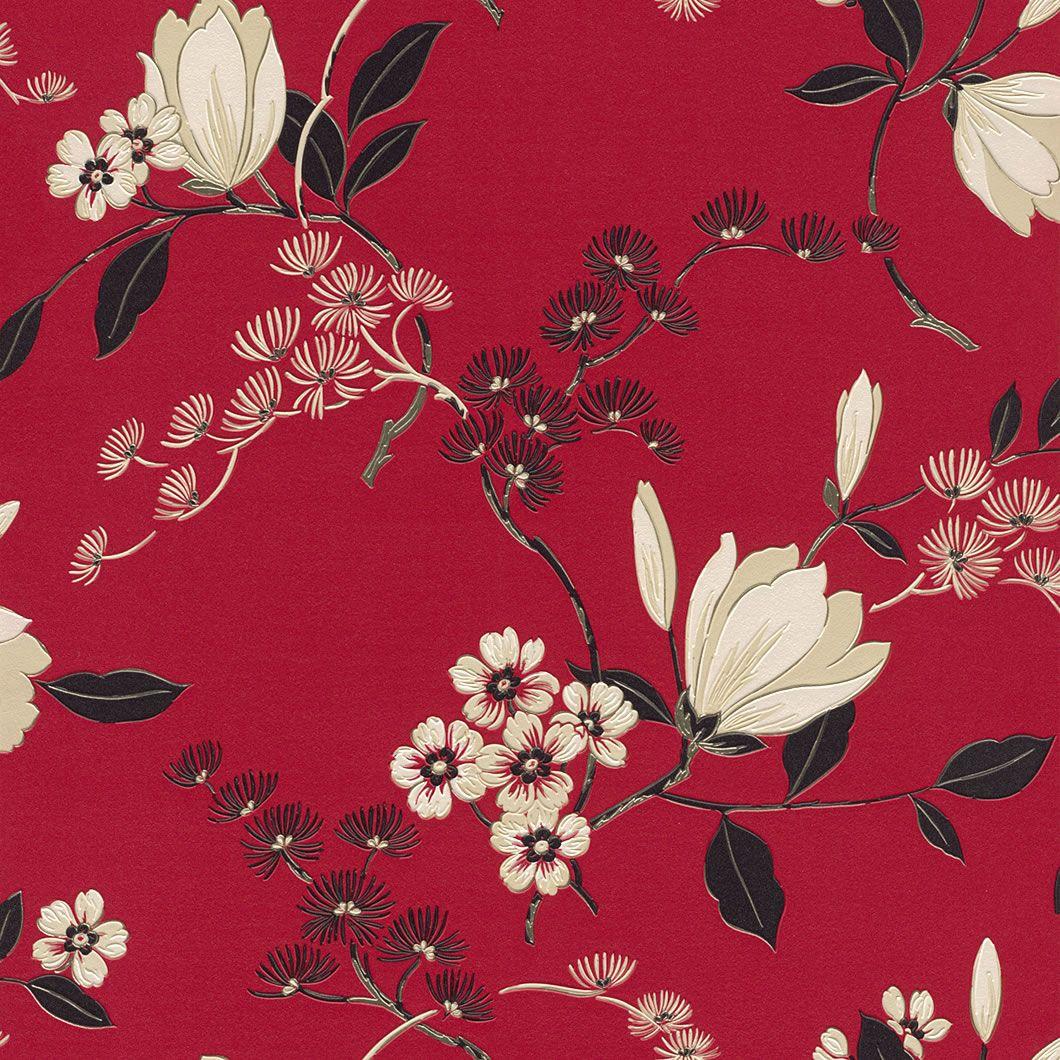 Details about Red Black Cream   822519   Oriental   Floral   Rasch 1060x1060