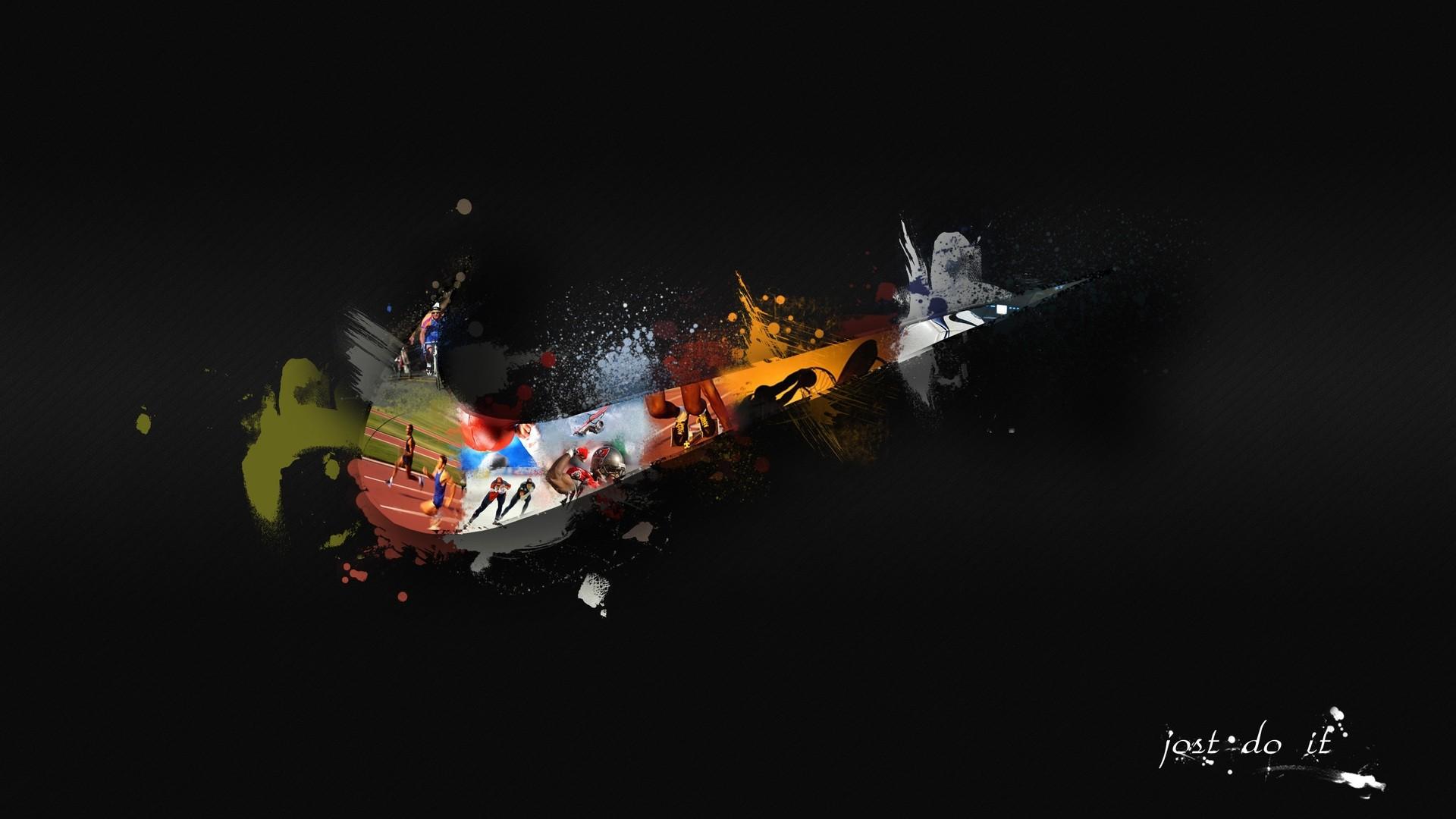 abstract Nike digital art artwork brands black background 1920x1080