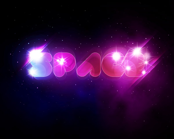 Create a Unique Glowing Text with Space Background in Adobe Photoshop 600x480