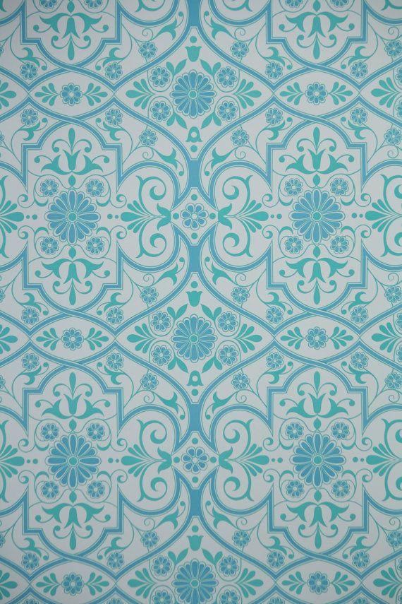 1970s Retro Wallpaper Vintage Aqua Blue And White Geometric 16 Per 570x855