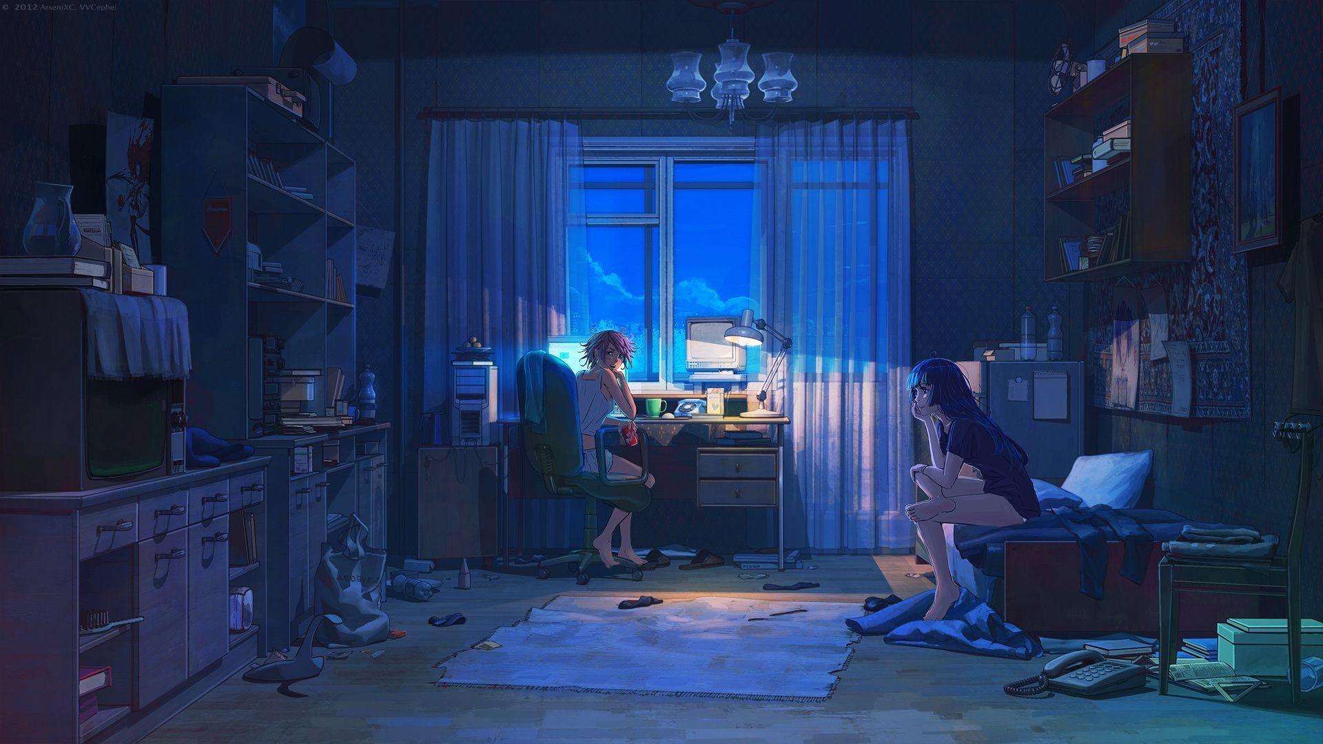 Anime girls room Dengan gambar Gambar digital Pemandangan anime 1920x1080