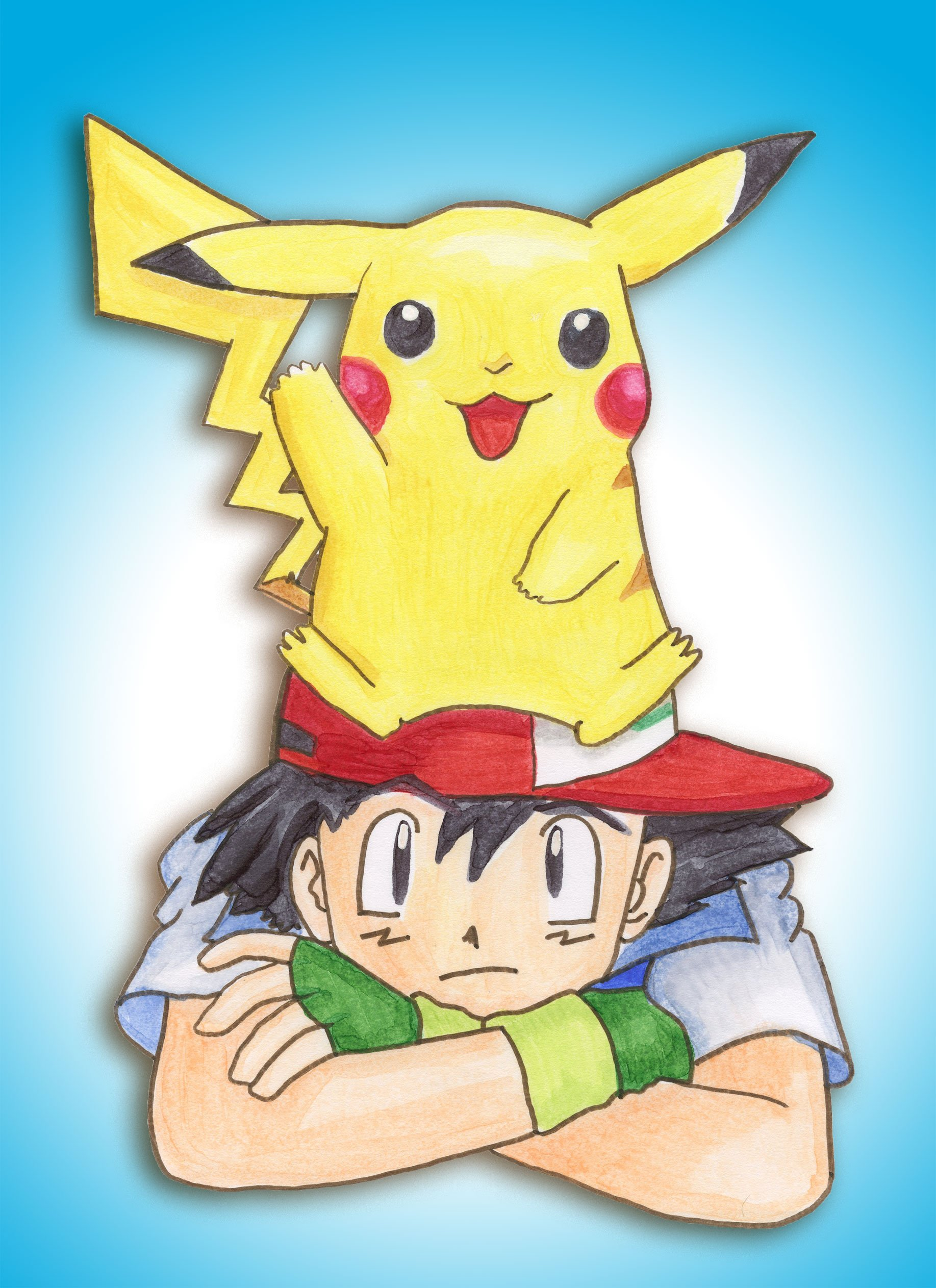 Pikachu And Ash Wallpaper I added a digital background 1835x2525