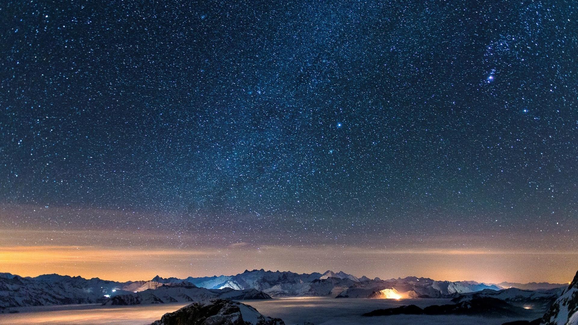 Snow stars wall night sky wallpaper 59391 1920x1080