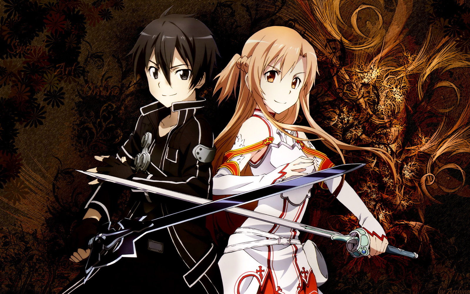 Sword art online SAO asuna kirito wallpaper by Arehina 1600x1000