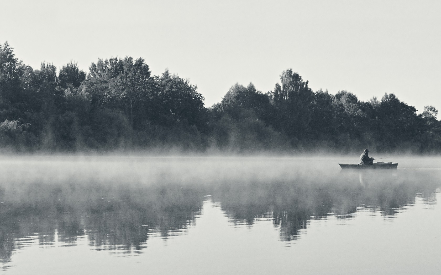 Black and white landscapes nature fog morning wallpaper 1680x1050