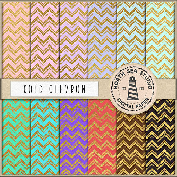 BUY5FOR8 Gold Chevron Digital Paper Gold Foil by NorthSeaStudio 570x570