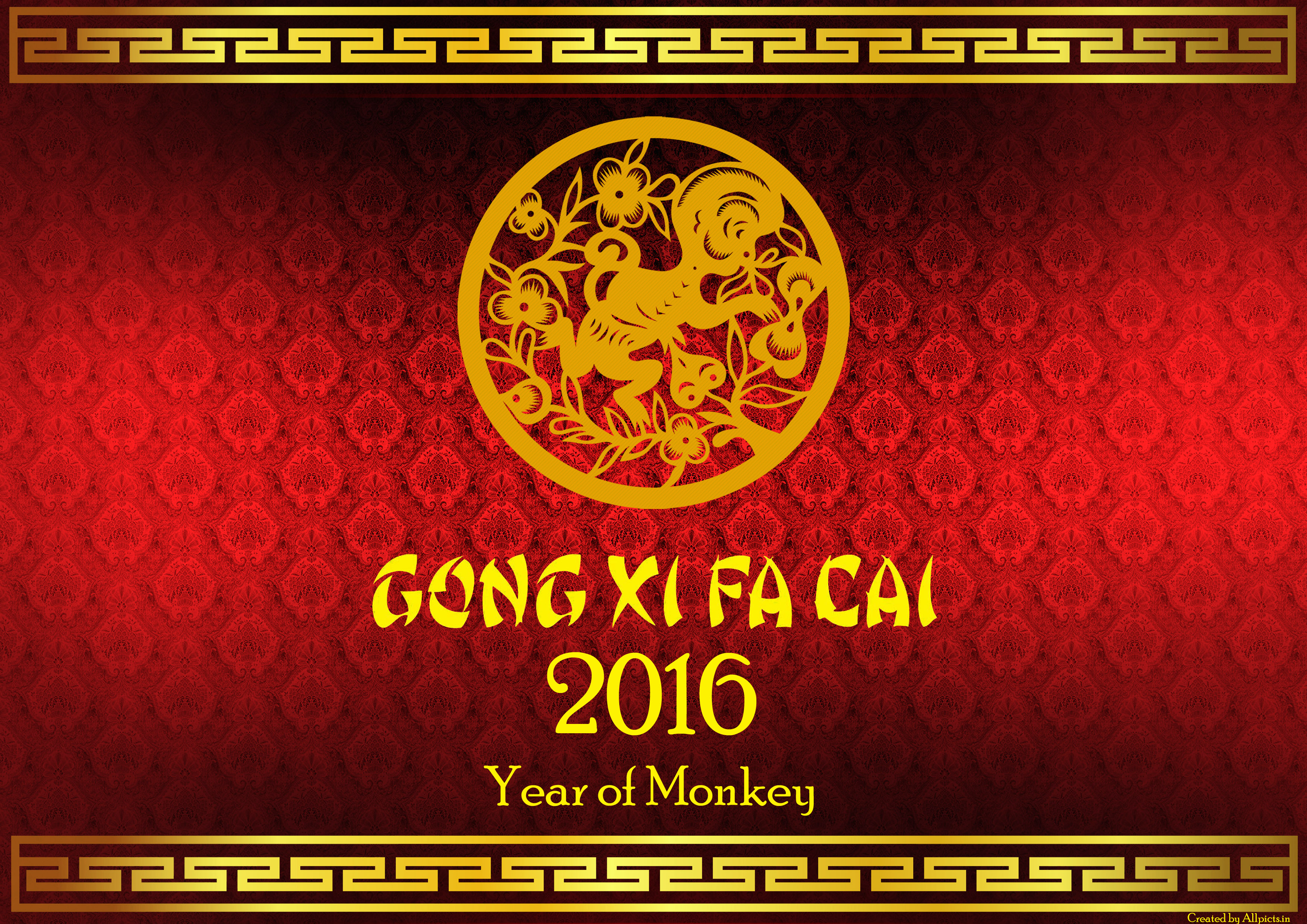 Fat Cai 2016 Happy Chinese New Year Wallpaper Year of Monkey 3508x2480