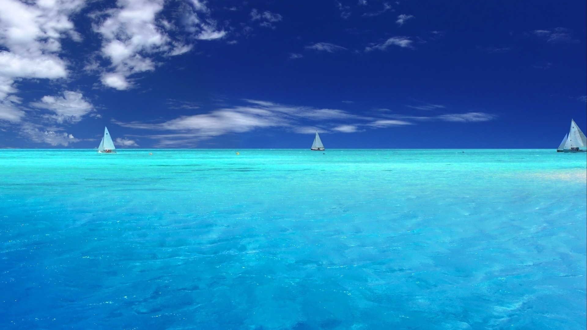 Yachts On Caribbean Sea Blue Ocean Water 1920x1080 HD Image 1920x1080