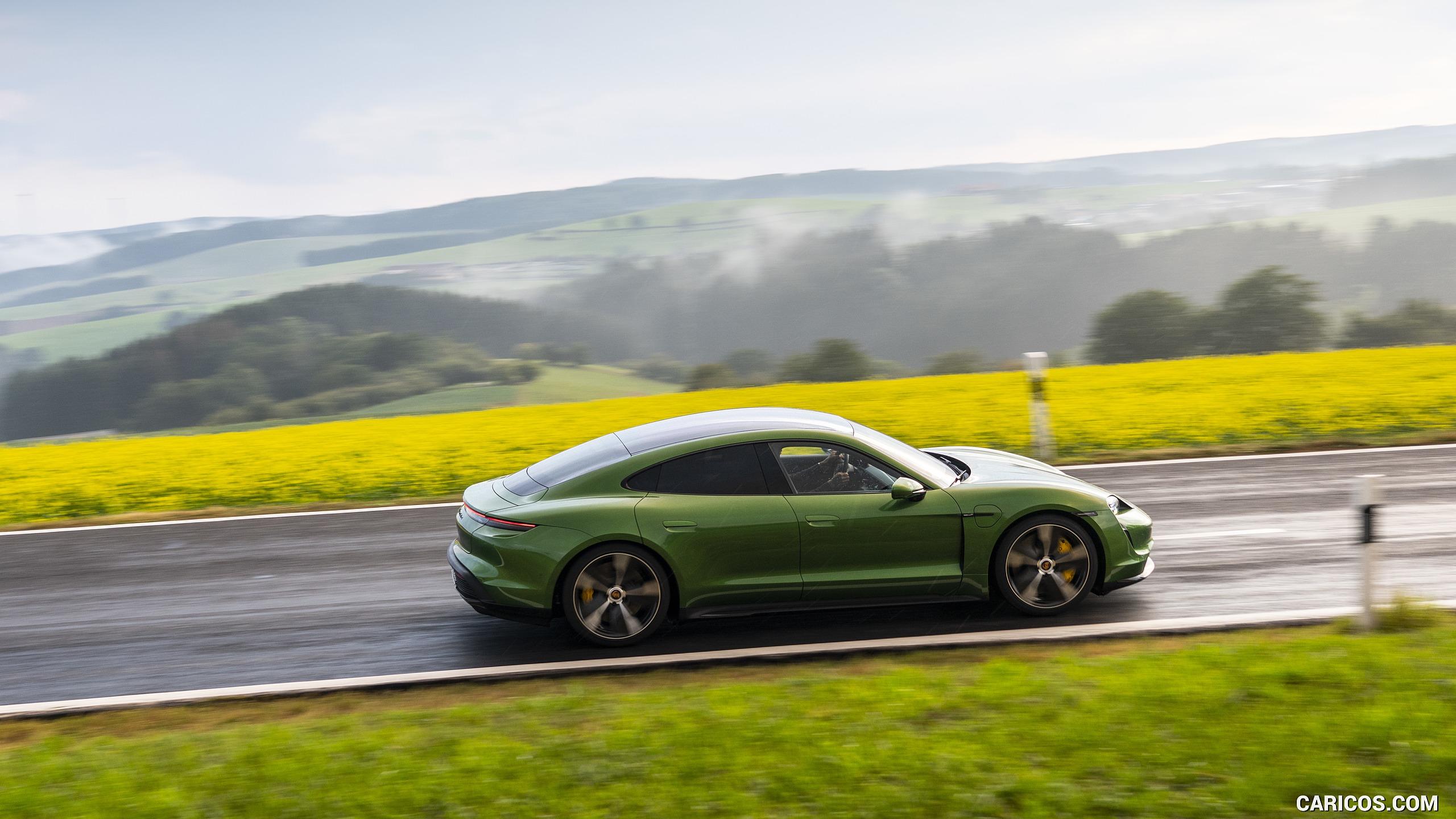 2020 Porsche Taycan Turbo S Color Mamba Green Metallic   Side 2560x1440