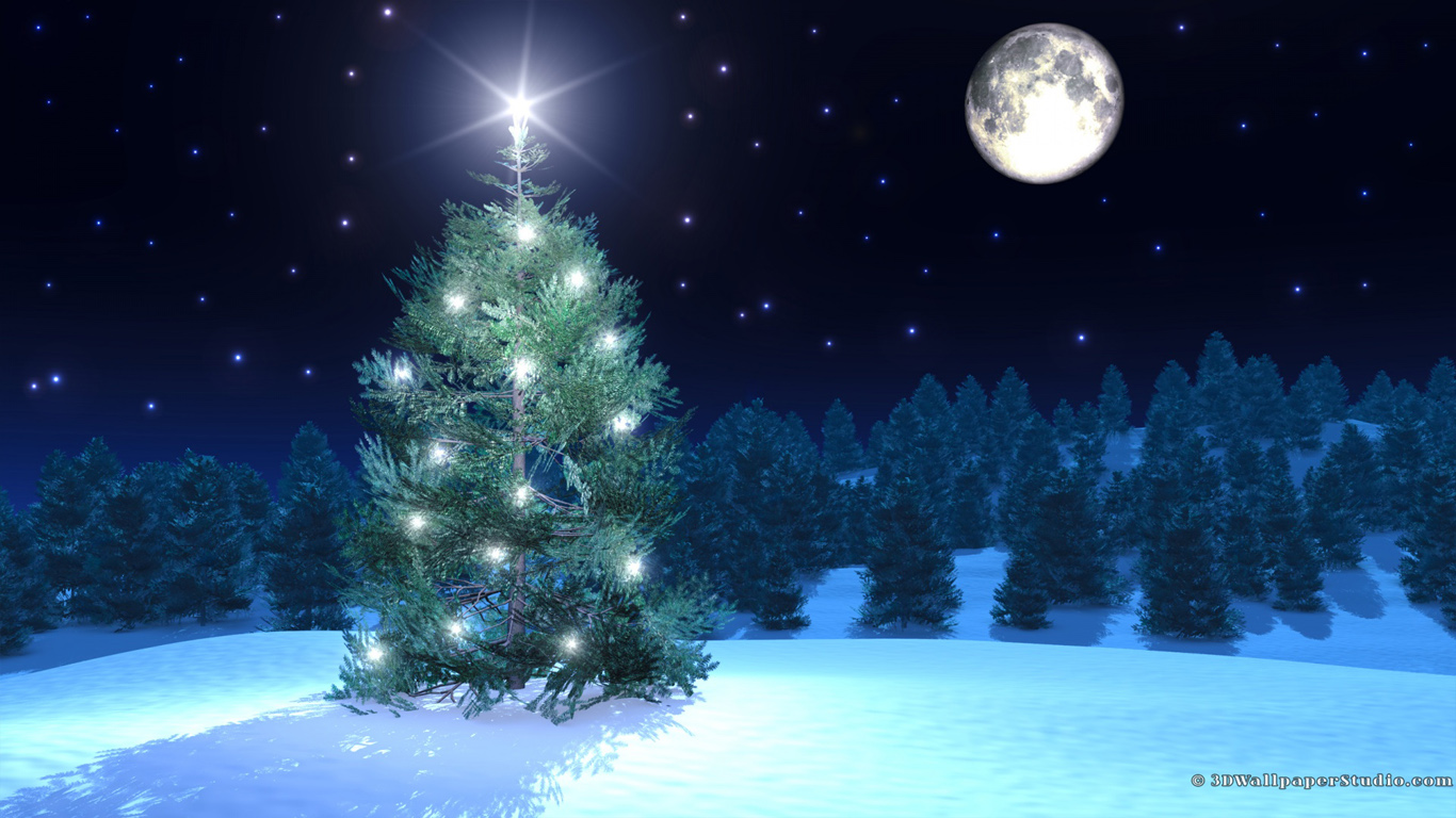 Free download Christmas tree wallpaper in 1366x768 screen