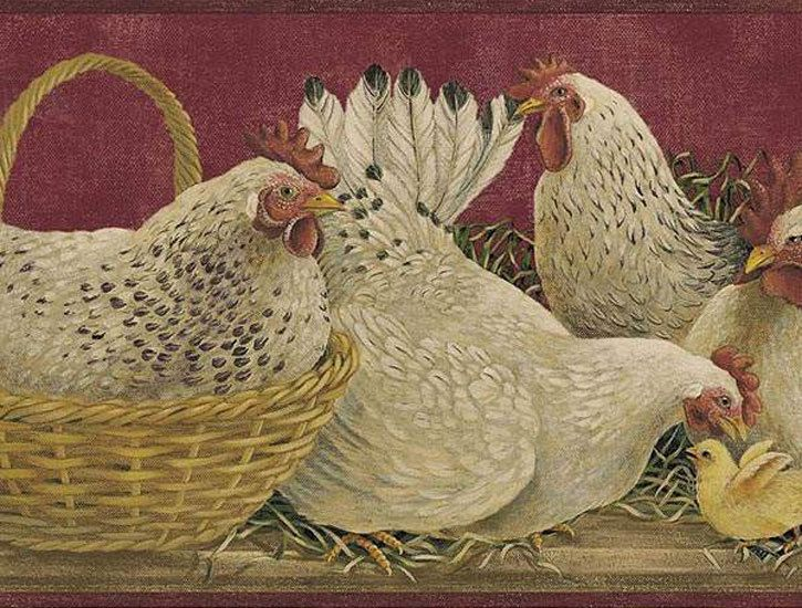 Country Border Roosters Burgundy Primitive Wallpapers Border 725x550