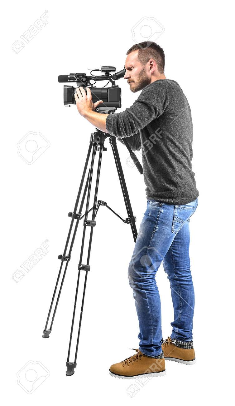 Video Camera Operator Isolated On A White Background Stock Photo 754x1300