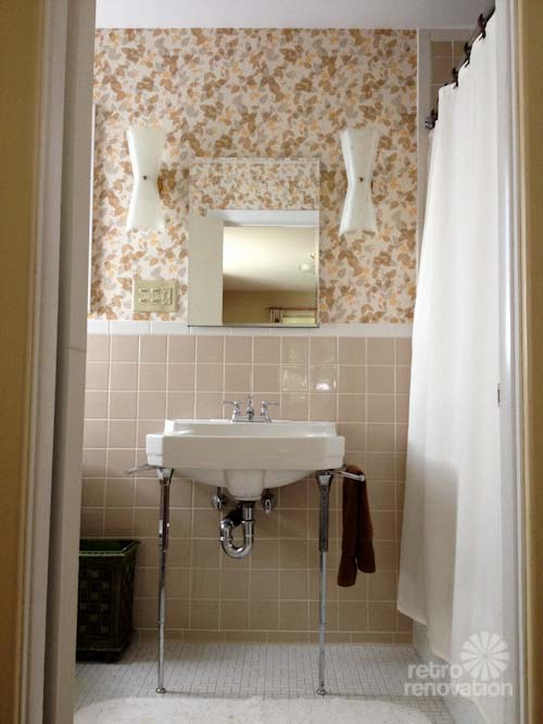 New vintage wallpaper and lighting for Pams bathroom Beige brown 500x667
