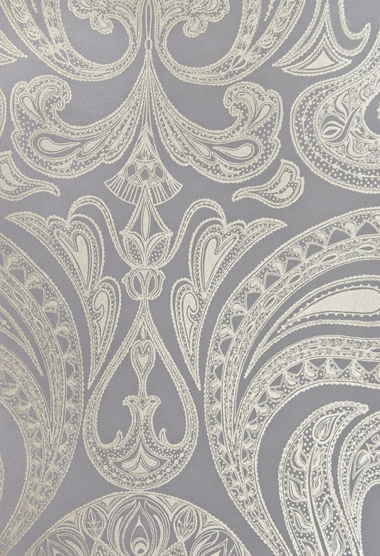 Grey wallpaper with large metallic silver Paisley design in white 534x780
