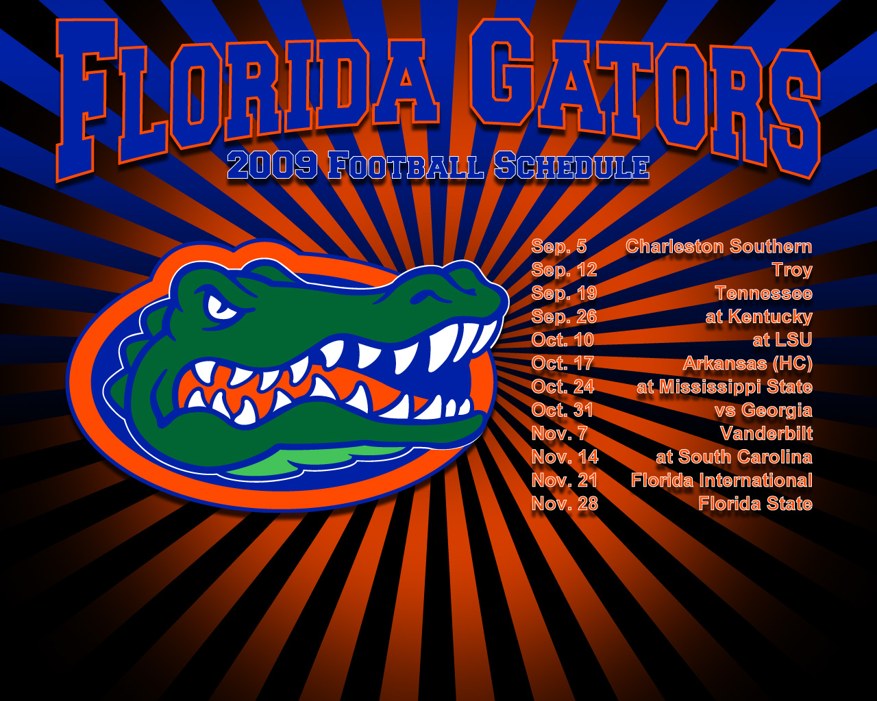2009 Gator Football Schedule 1280x1024