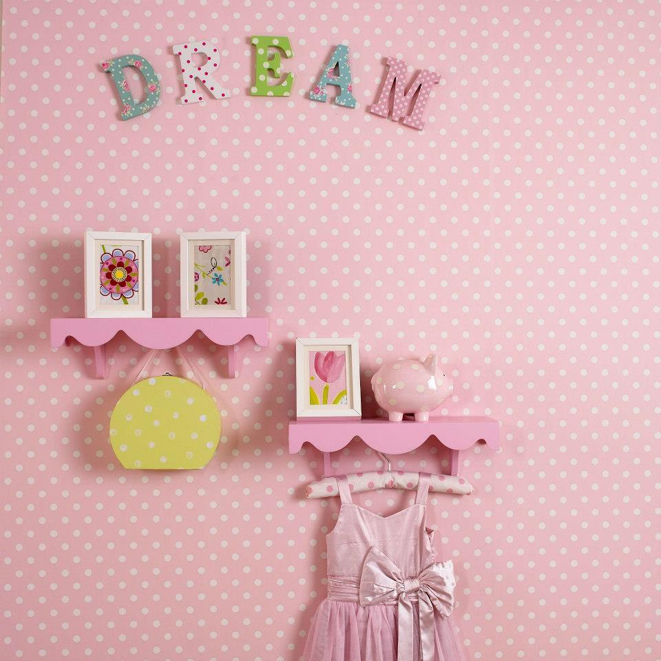 Polka dot nursery wallpaper petal pink Hippins for baby gifts nursery 960x960