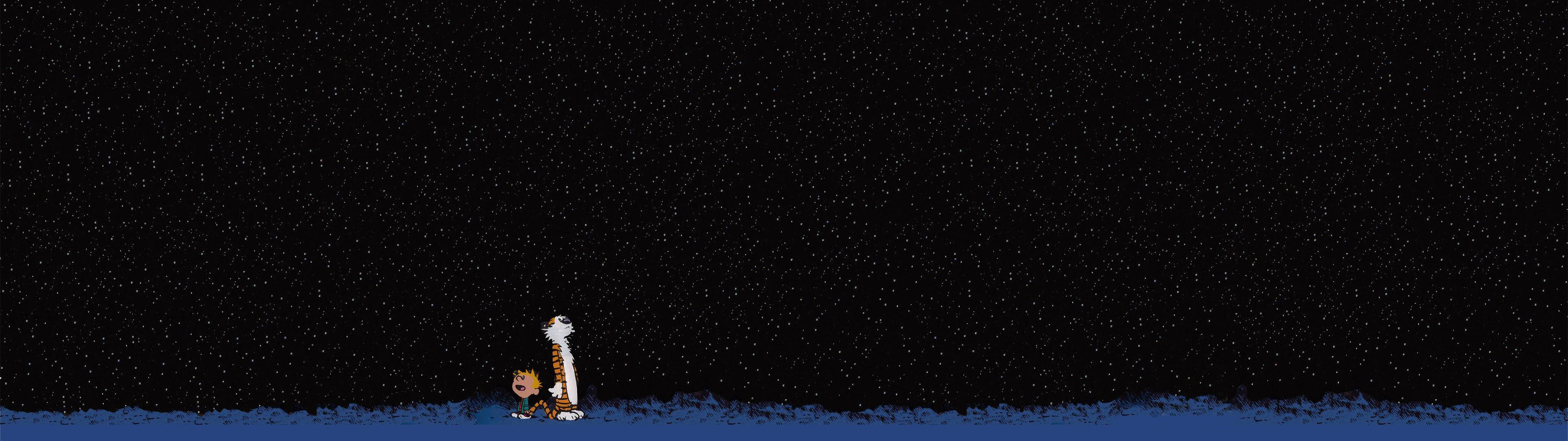 Free Download Stars Calvin And Hobbes Hd Wallpaper 3840x1080 For