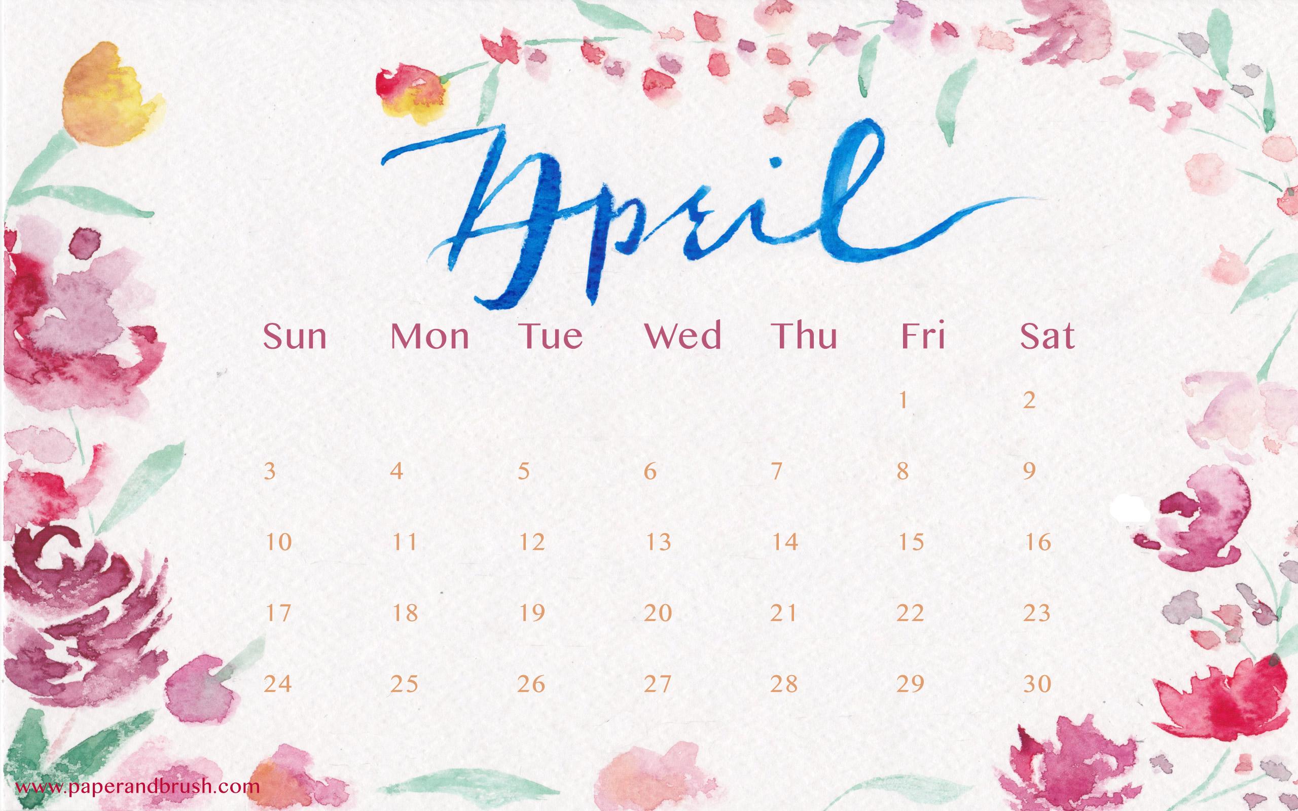 April 2016 Calendar Wallpaper   52DazheW Gallery 2560x1600