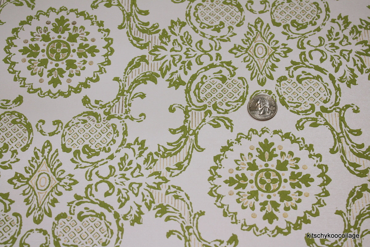 1960s Vintage Wallpaper green and metallic gold damask 1200x800