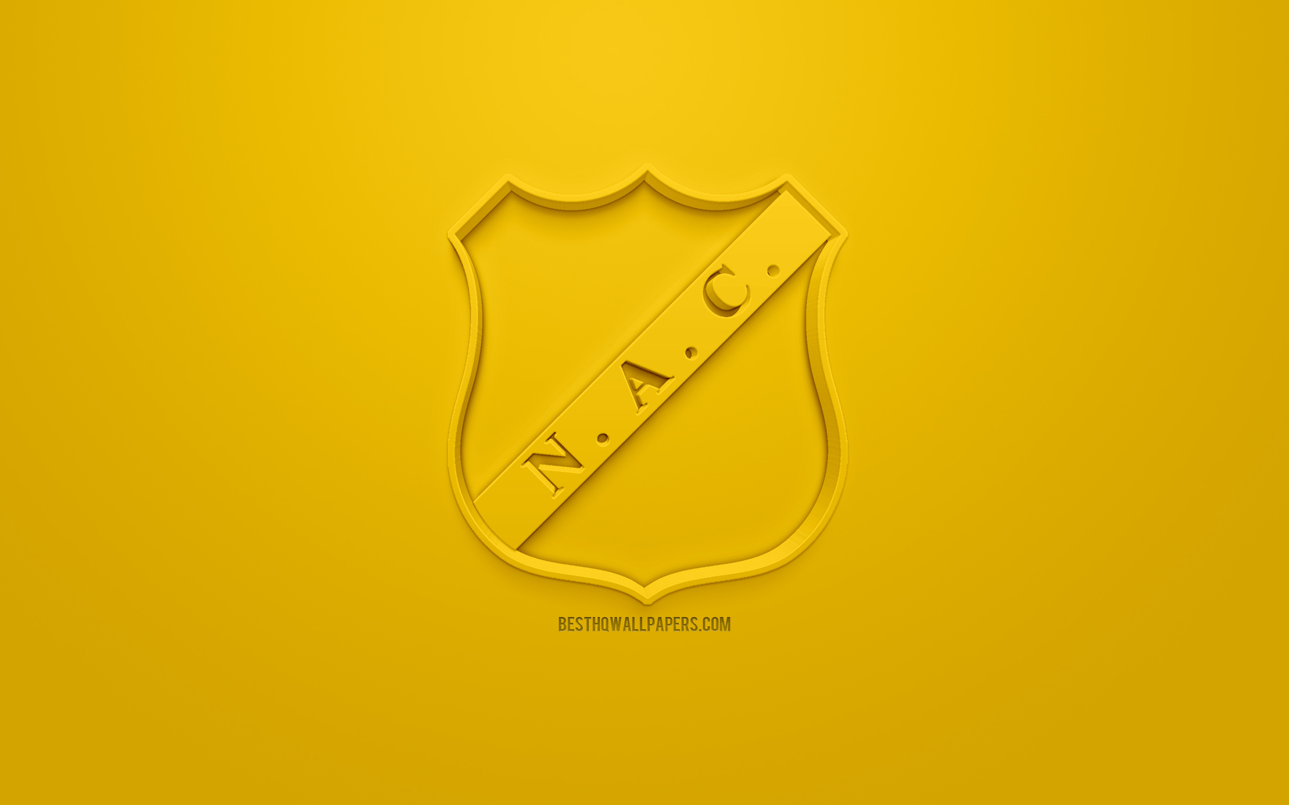 Download wallpapers NAC Breda creative 3D logo yellow background 2560x1600