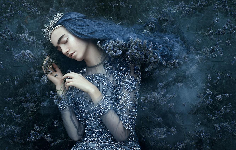 Wallpaper girl style mood sleep crown dress Diadema 1332x850