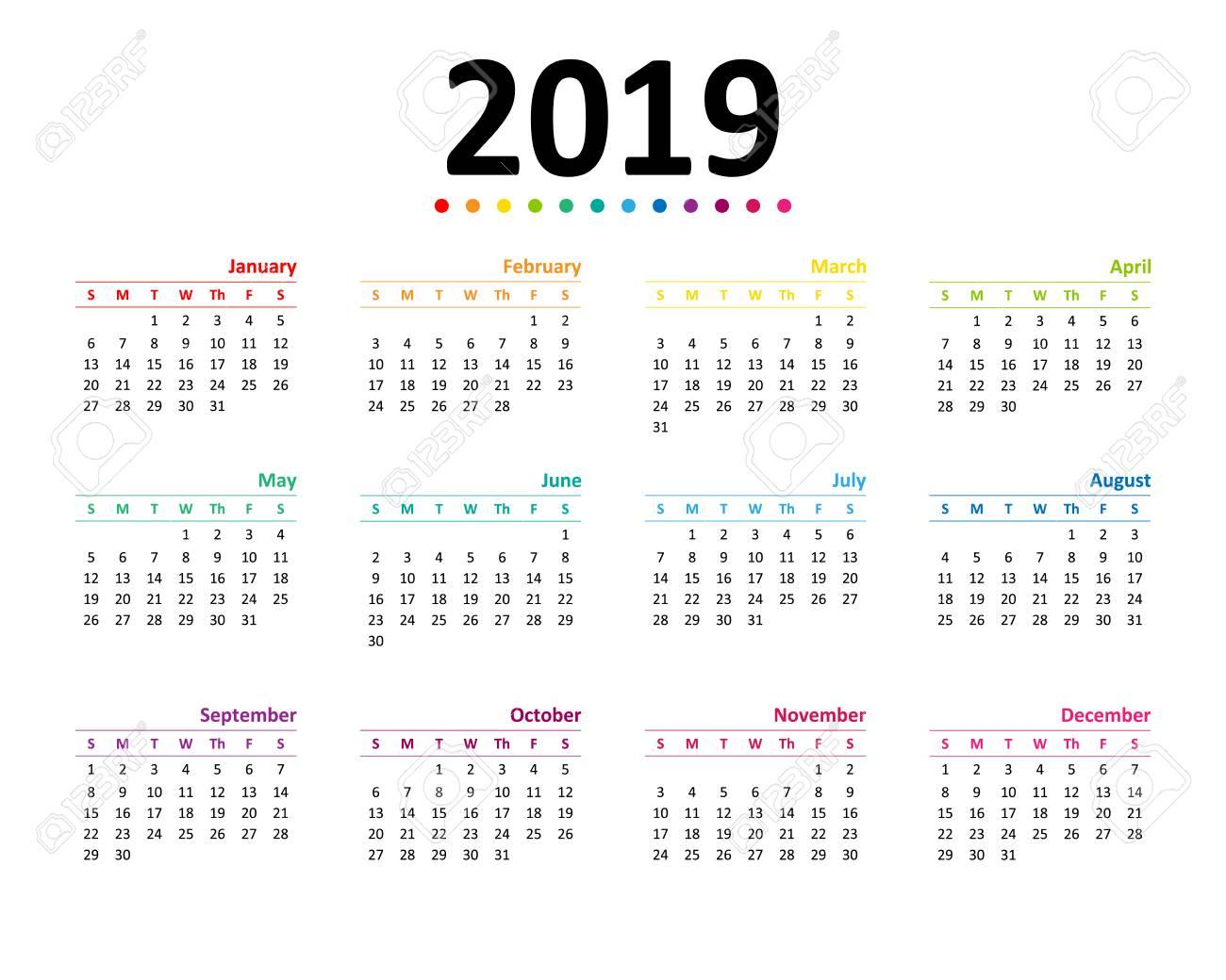 Year 2019 Calendar Wallpaper Vector Illustration Royalty 1300x1040