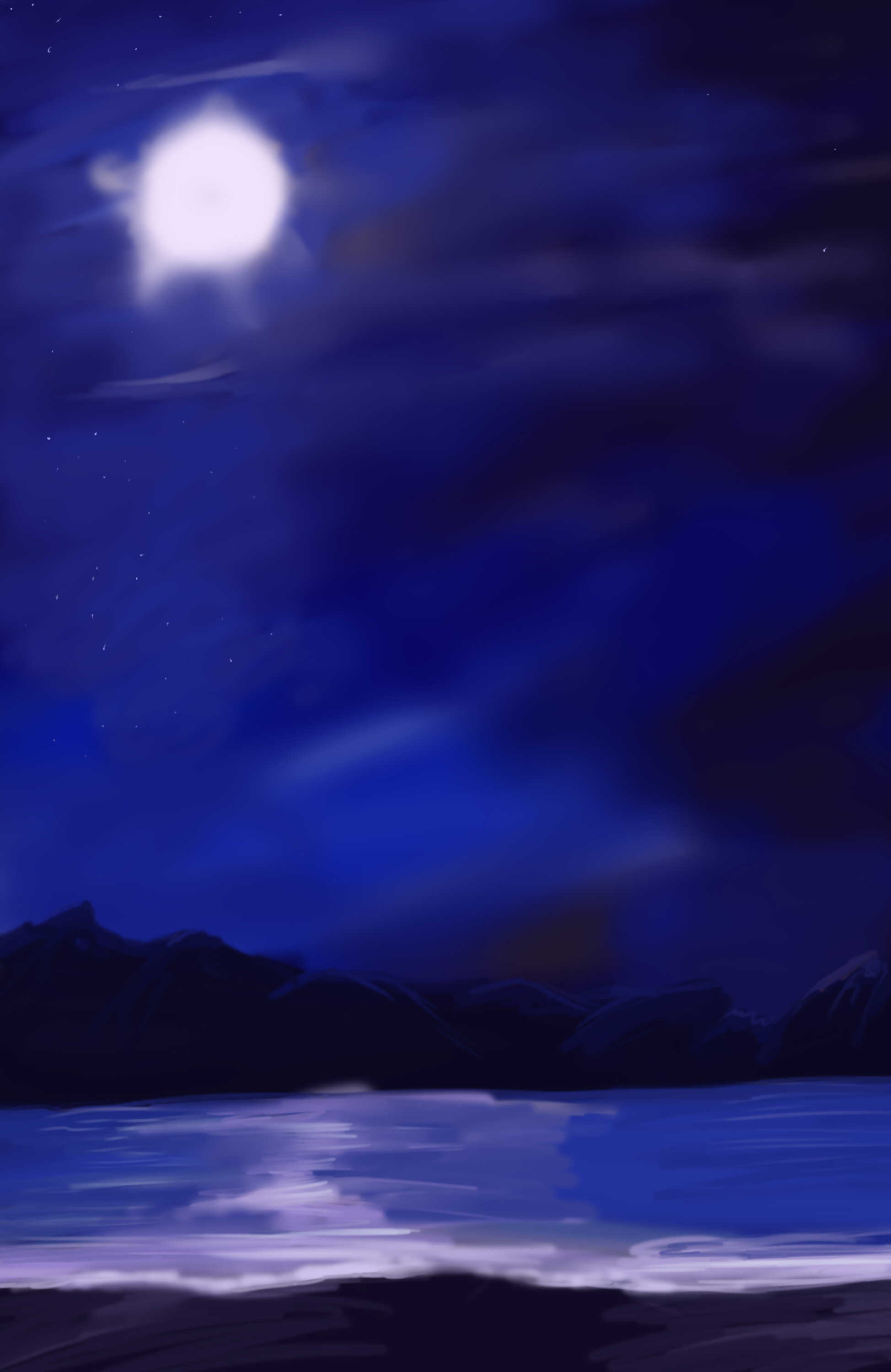 Anime Night Beach Background by wbd 1948x3000