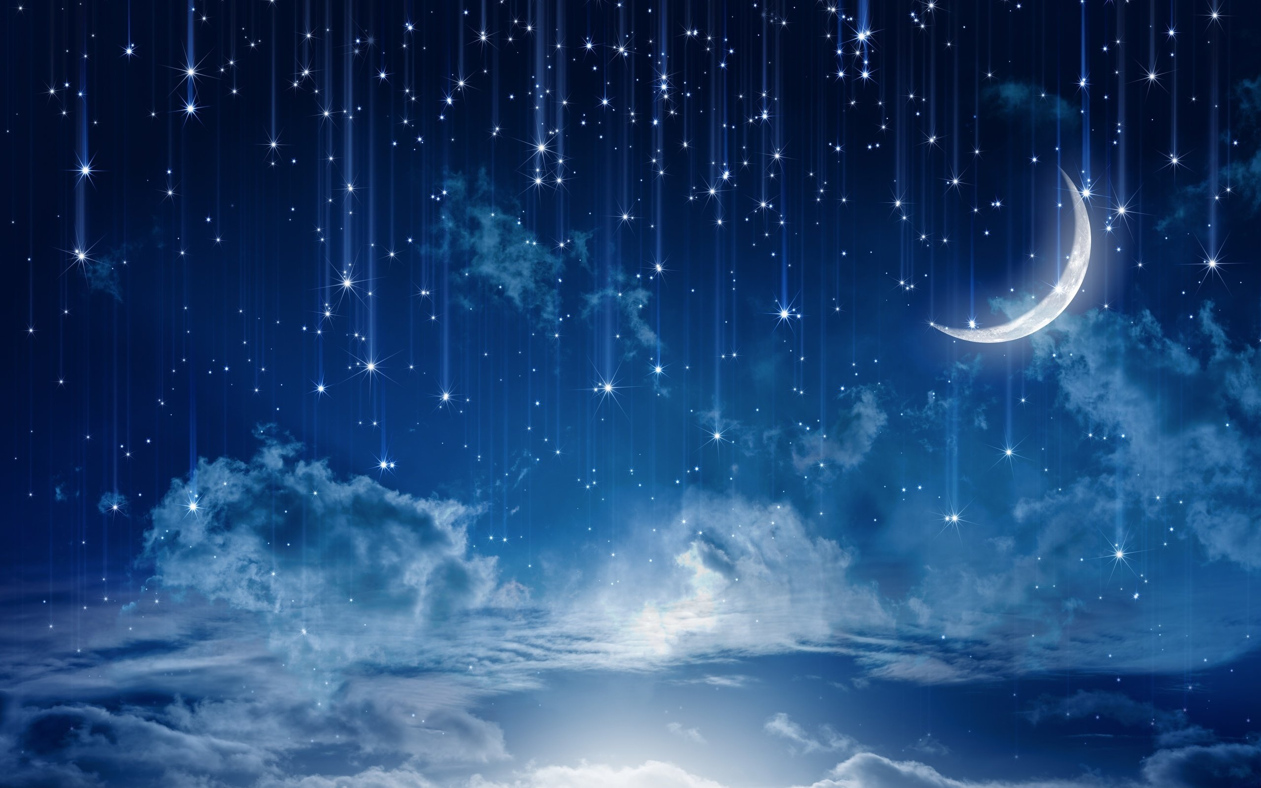 nature night stars clouds rain landscape moon wallpaper background 2560x1600