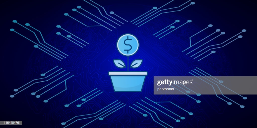 Money Sapling Icon On Blue Circuit Board Background High Res 1024x512
