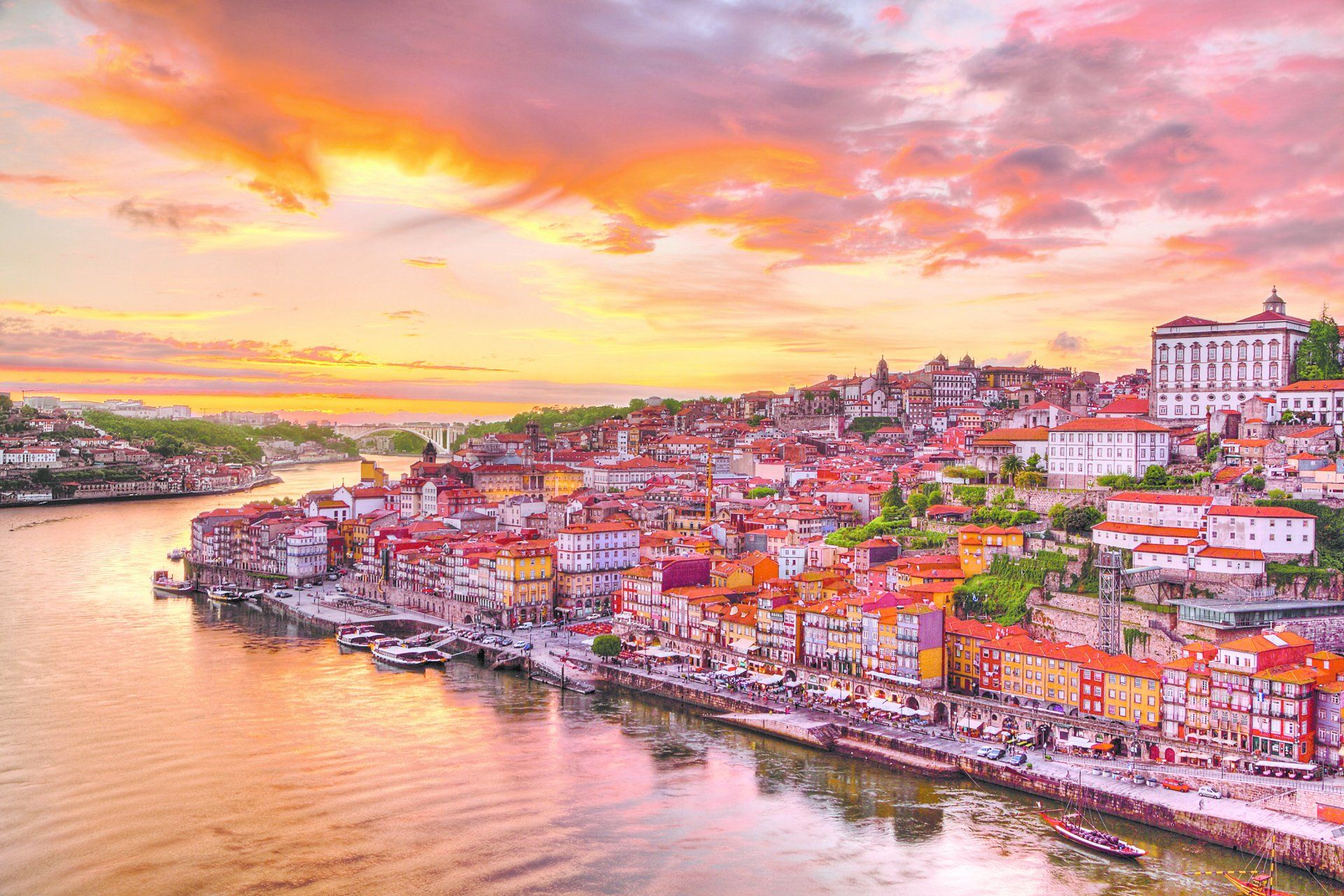 Man Made Porto City Portugal House Colorful Boat Sunset Wallpaper 1920x1280