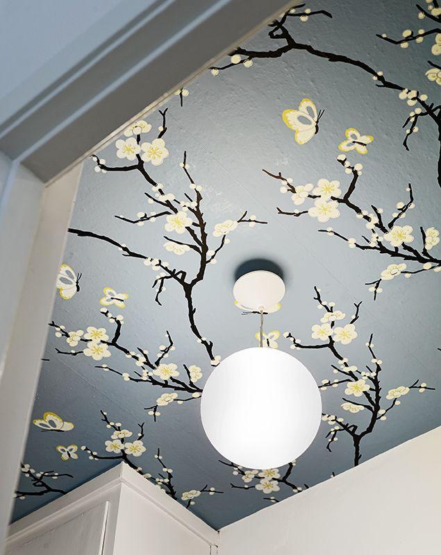 Colored ceiling Wallpaper ceiling Home decor Ceiling decor 635x800