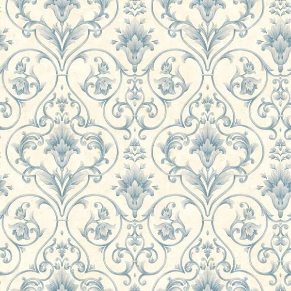 Wallpaper Sample Blue and Cream Victorian Scroll eBay 600x600