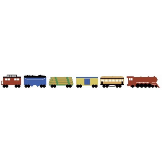 Uncut 3 Train Sets on a Peel and Stick Wallpaper Border   All 4 Walls 650x650