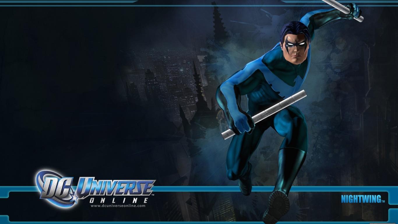 1366x768 DC Universe Online Nightwing desktop PC and Mac wallpaper 1366x768