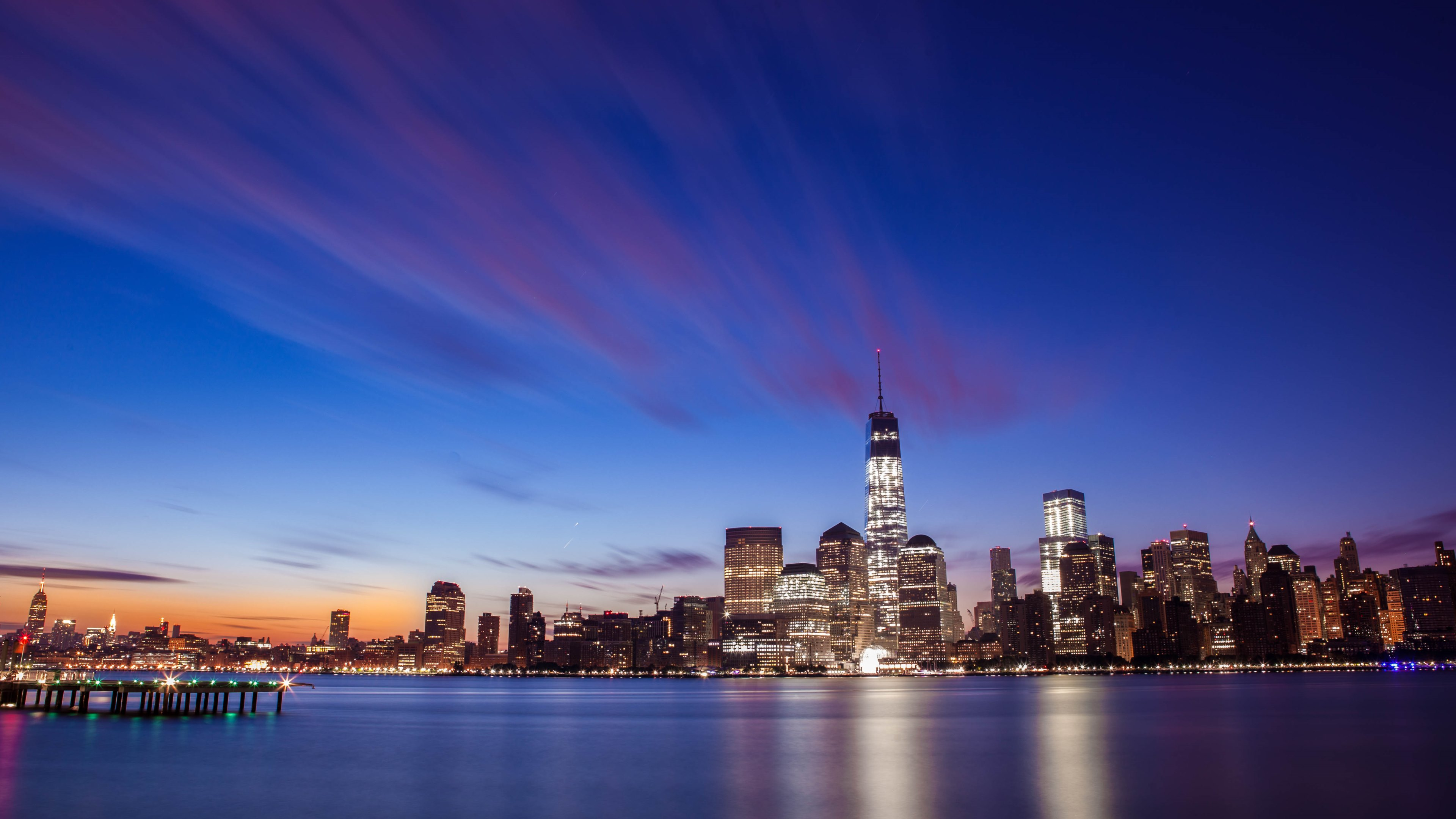 New York City Skyline Sunrise Wallpapers HD Wallpapers 3840x2160