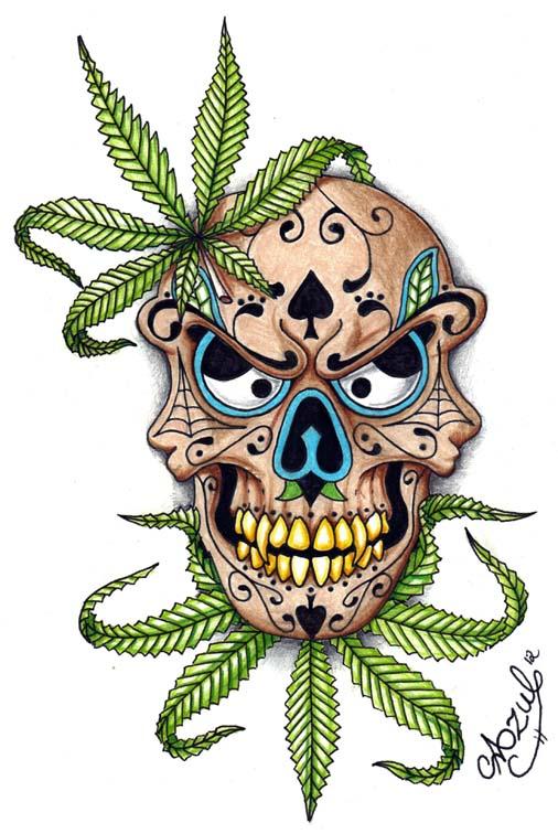 Marijuana Sugar skull by Azul80 506x756