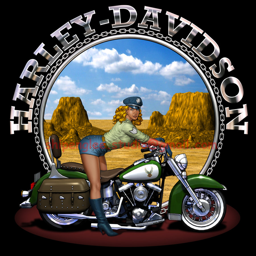 Harley Davidson Pin Up Wallpaper