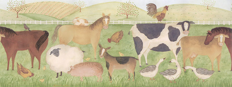 country farm animals boy s nursery wall border wallpaper borders Car 800x301