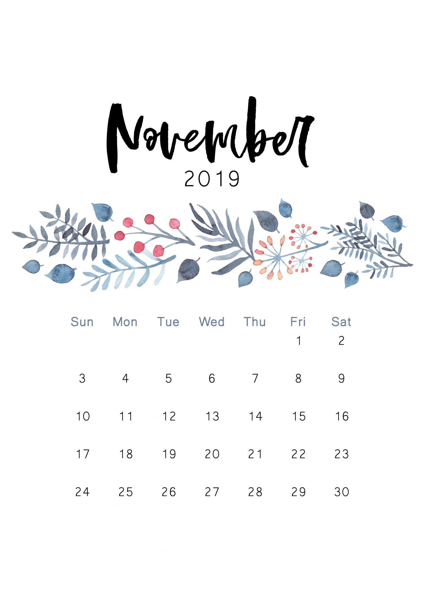 Floral November 2019 Wall Calendar Cute Pink Design Wallpaper 1472x2048