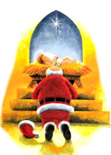 Santa and Baby Jesus Wallpaper - WallpaperSafari