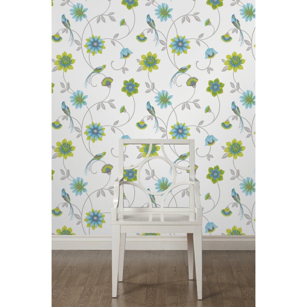 Fine Decor Eden Bird Designer Feature Wallpaper White Green Blue 1000x1000