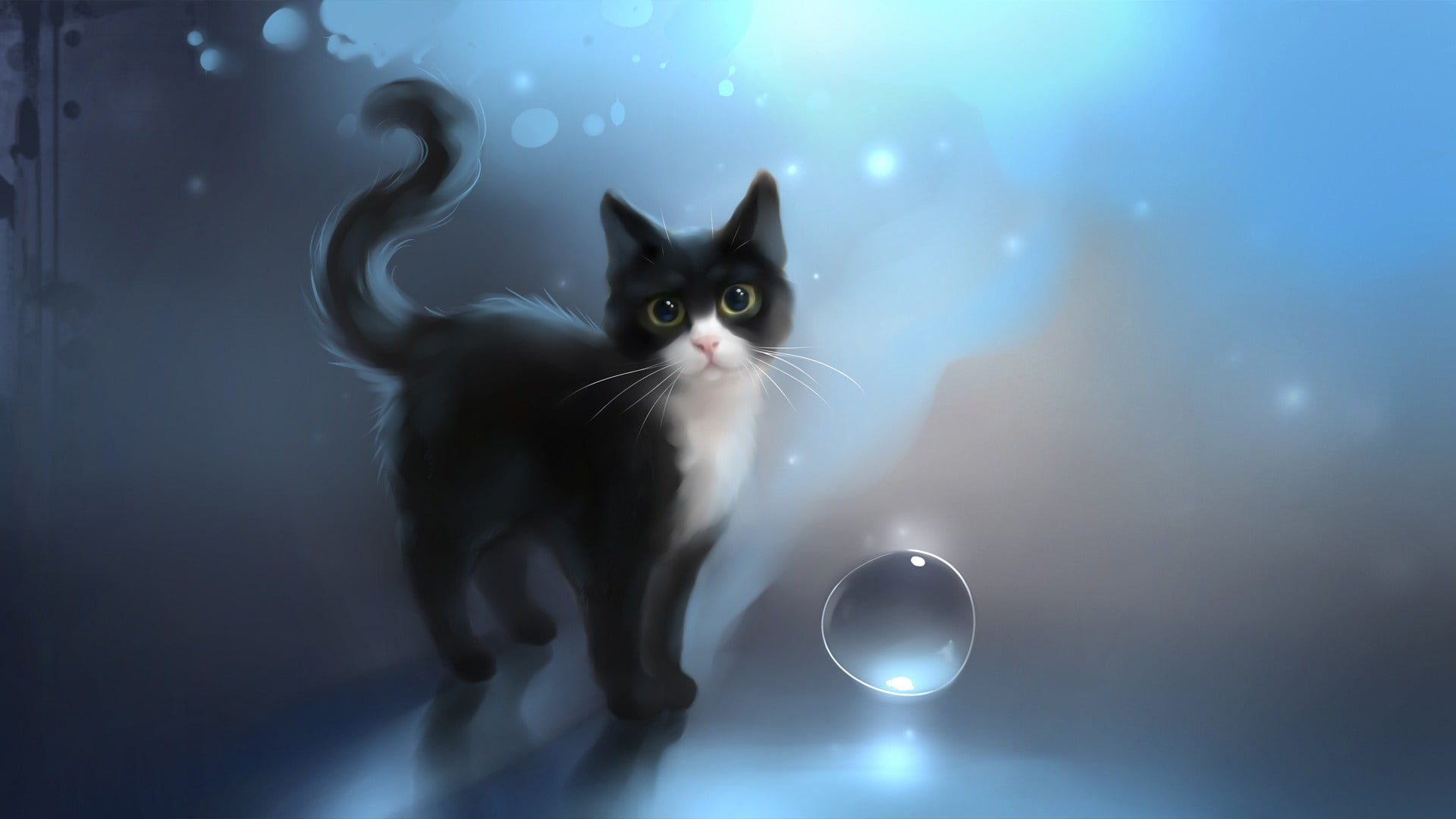 Tuxedo kitten illustration HD wallpaper Wallpaper Flare 1920x1080