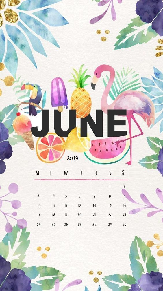 Fruits painting June 2019 iPhone Wallpaper Calendar Calender in 564x1003