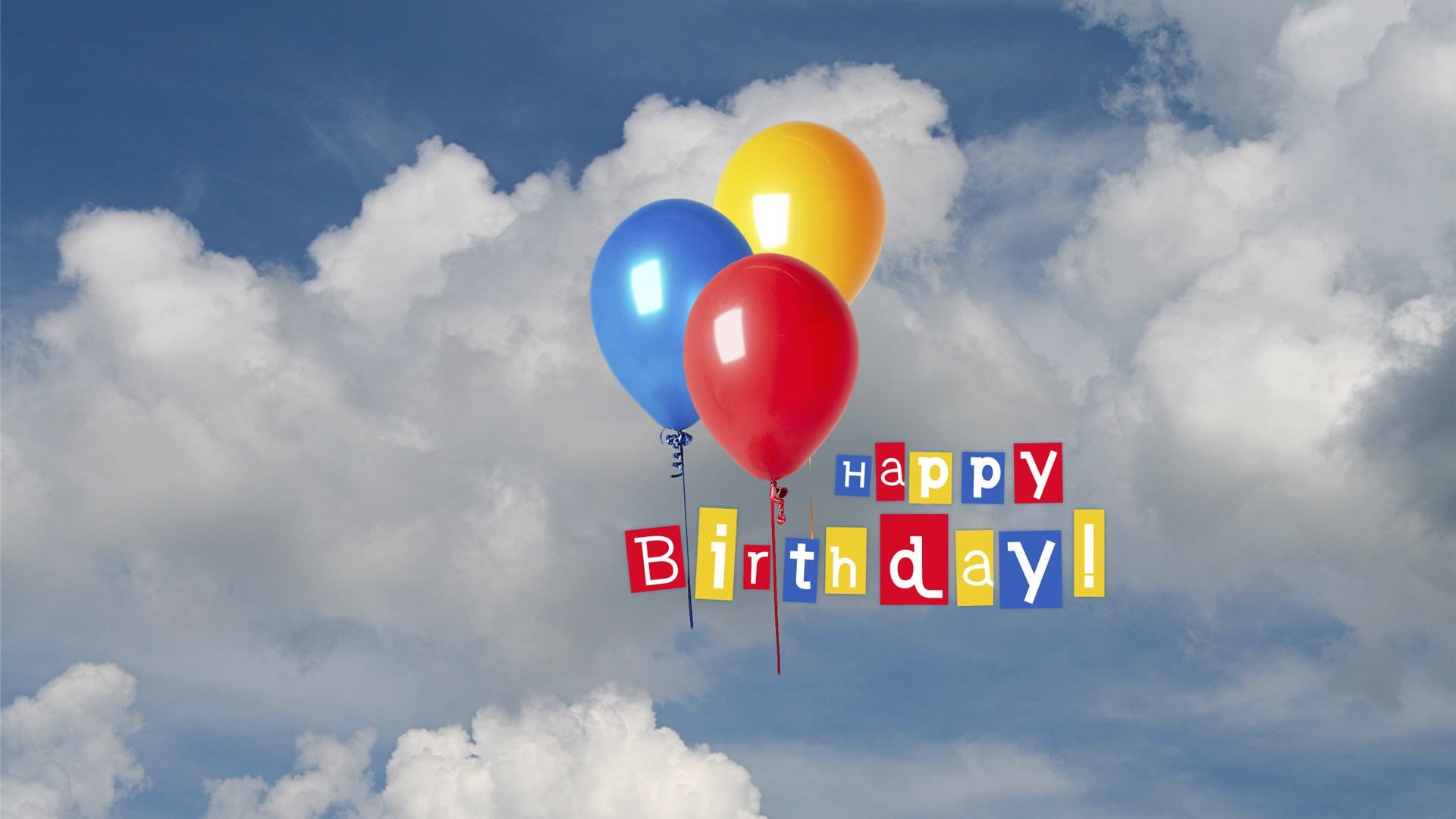 Happy Birthday Greetings in Sky with Balloon Wallpapers HD 1920x1080