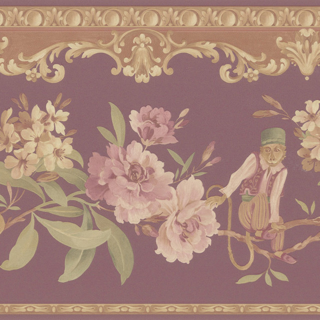 Burgundy Monkey Floral Border Wallpaper   Contemporary   Wallpaper 640x640